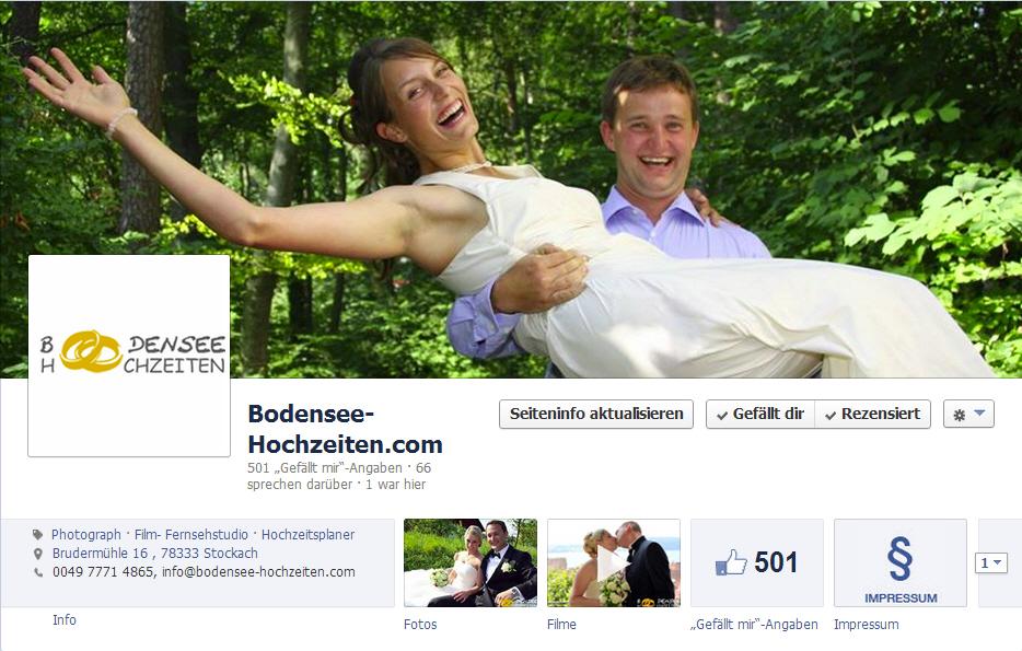 bodensee-hochzeiten.com freut sich über 500 Facebook Fans