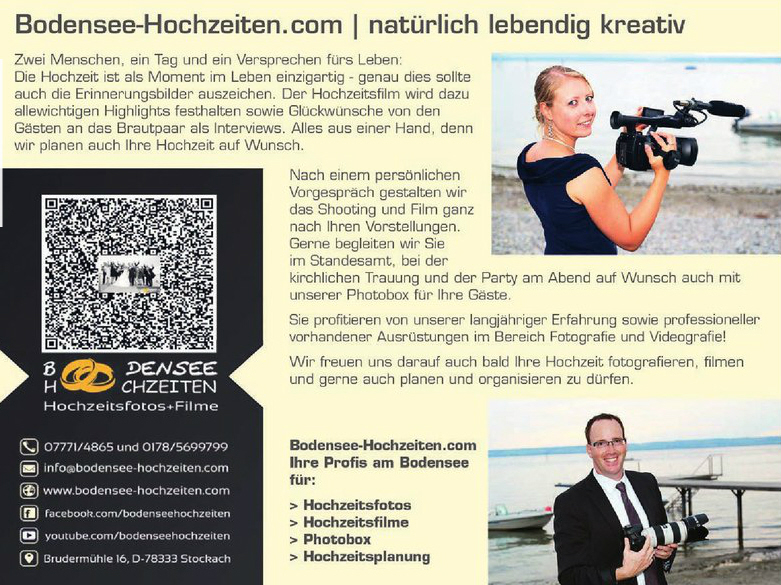 Bodensee-Hochzeiten Anzeige im regionalen Hochzeitsratgeber Zauberhafte Momente