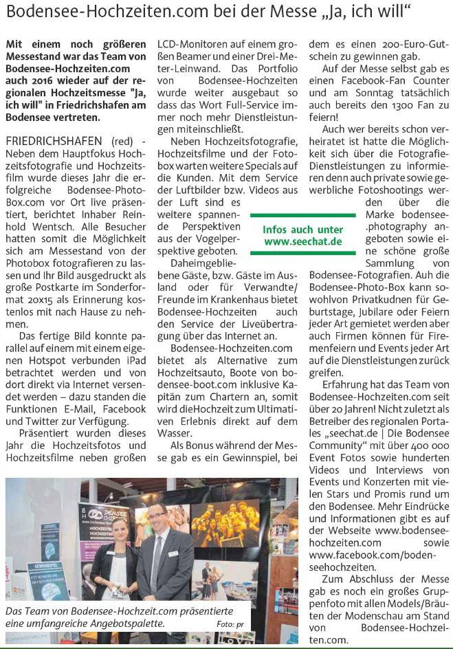 """Bodensee-Hochzeiten.com bei der Messe """"Ja, ich will"""""""